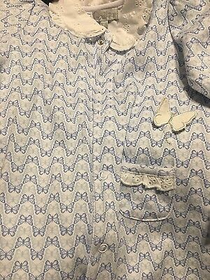 BNWT Quiltex baby girl white and blue butterfly 1 piece 6-9 months