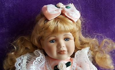 Sweet Chubby Faced Porcelain Doll Super Lacy Apricot Dress & Bow, Doll Is Lovely