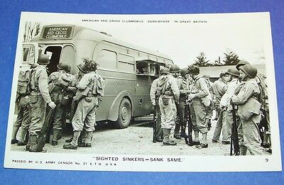 Original Ww2 Photo Pc: Army G.i.'s By American Red Cross Clubmobile, England