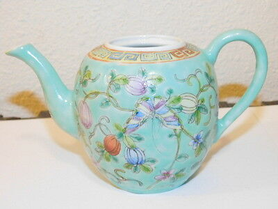 Chinese Enamel Teapot China Export Blue Green Flowers Butterfly and Blossom