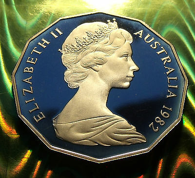 MIRRORED  PROOF GEM 1982 Australia 50 Cents, Holder included. Commonwealth Games