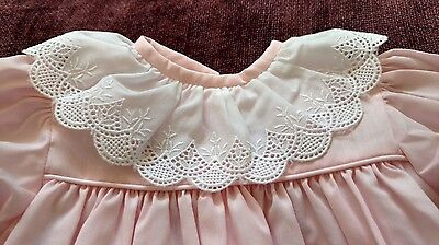 Vintage Infant Girls Drawstring Gown-Pink with White Collar - 3 Months -Rare-EUC