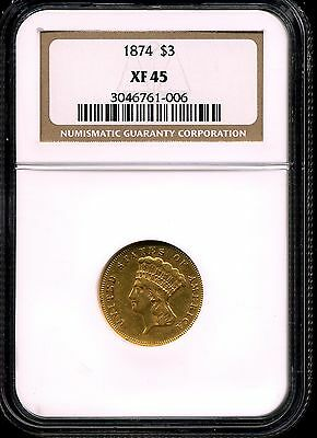 1874 G$3 Indian Princess XF45 Three Dollar Gold Piece NGC 3046761-006