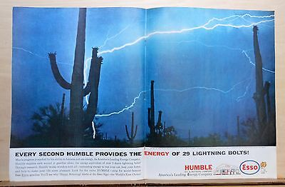 1961 double page magazine ad for Esso - lightning & Saguaro in AZ desert night
