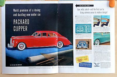 1941 three page magazine ad for Packard Clipper - Low Wide Rakish, Modern Design