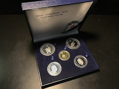 1994 Lillehammer Olympic Games Gold & Silver 5-Coin Proof Set with Box