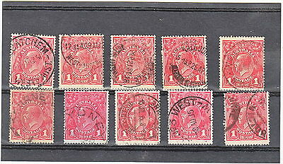 KGV 1d Red Die 2 Smooth Paper 10 nice Copies