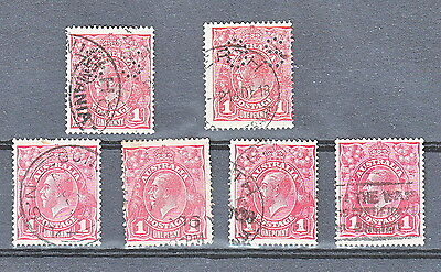KGV 1d Red Collection of Tin Shed Flaws including OS