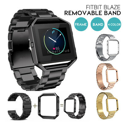 Replacement Watch Band Stainless Metal Wristband +Frame For Fitbit Blaze Tracker