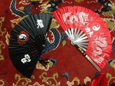 Tai Chi, Martial Arts, Fans, metal, 1 Red, 1 Black, pre-owned
