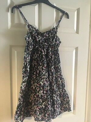 H&M Size 6 black / multi flower Floral strappy Summer Beach Dress XS S Floaty