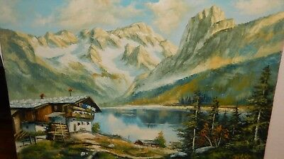 Huge Original Oil On Canvas Snow Mountain Cabin Landscape Painting Unsigned