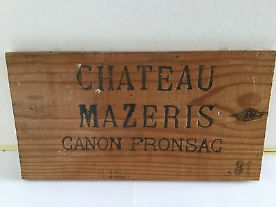 Chateau Mazeris 81. Wine Wooden Crate Fronts. Original Highly Collectible.