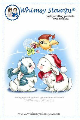 Whimsy Stamps- Cling Mounted Rubber Stamp - Christmas Bunny Kisses