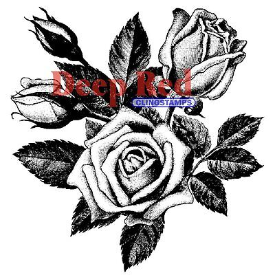 Deep Red *Rose Blooms* Cling Mounted Rubber Stamp