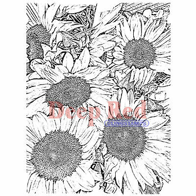 Deep Red *Sunflowers Background* Cling Mounted Rubber Stamp
