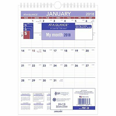 At-A-Glance PM1-28 Monthly Wall Calendar With Ruled Daily Blocks, 8 X 11, White,