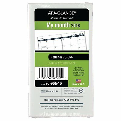 At-A-Glance 70-906-10 Pocket Size Monthly Planner Refill, 3 1/2 X 6 1/8, White,