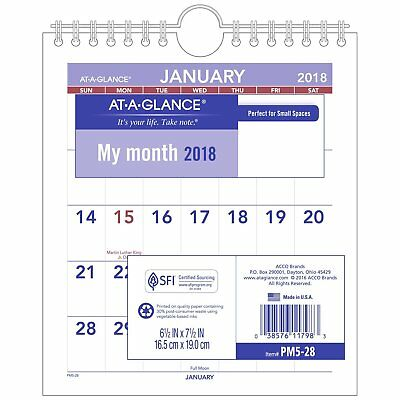 At-A-Glance PM52813 Mini Monthly Wall Calendar, 6 1/2 X 7 1/2, White, 2018