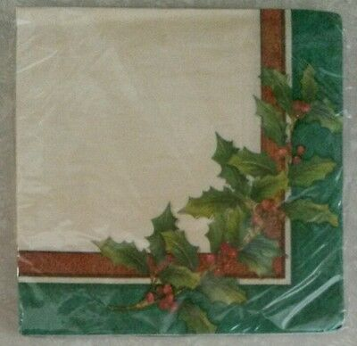 """16 ct Paper Party Lunch Napkins 13"""" ~ Christmas Holidays Holly Leaves & Berries"""