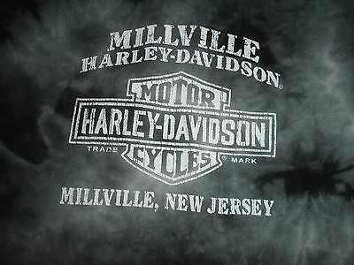Womens Harley Davidson Motorcycle Tie Dye Black Gray T-Shirt Large Fitted