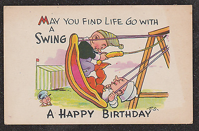1940 Punch And Judy On A Swing Comic Greetings Postcard
