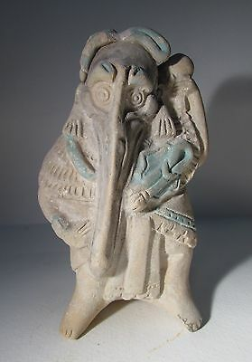 Mayan Jaina ceramic Effigy Whistle of a Bird man, 550 - 950 AD