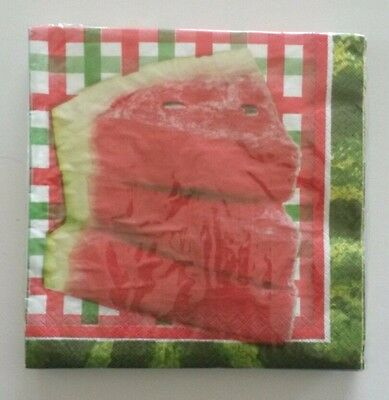 """16 ct 2 ply Paper Party Lunch Napkins 13"""" ~ Summer Watermelon Slices Plaid"""