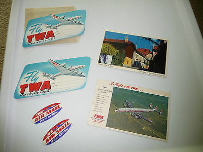 vtg MIXED LOT of 6 pack  TWA airlines UNUSED 4 luggage stickers & 2 postcards