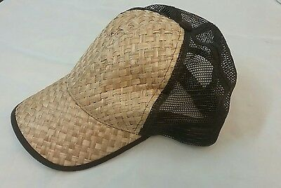 Men's Women's Wicker Straw Woven Baseball Cap Snapback Hat   (G)