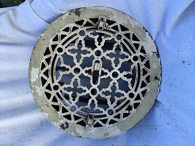 Antique Cast Iron Round Ceiling Heat Grate Register with Pulleys Old Gothic