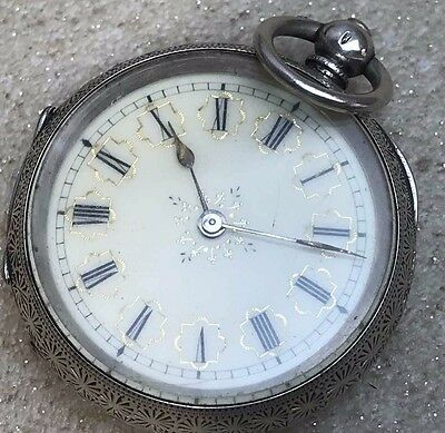 antiue  solid silver  case 38mm  pocket watch