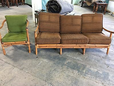 Mid Century Bamboo Sofa Couch And Chair