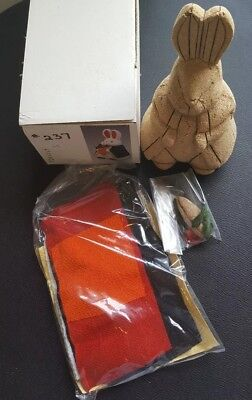 Japanese Kimekomi Doll Kit!  Rabbit and carrot with Fabric & accessories