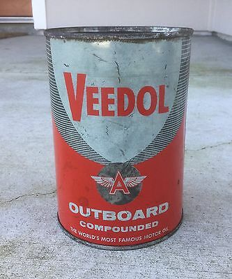 VINTAGE VEEDOL COMPOUND OUTBOARD MOTOR Oil Can Tin SIGN QUART FLYING A