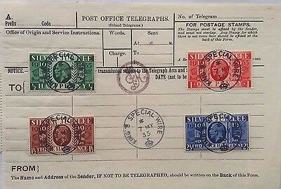 Great Britain P. O. Telegraphs Form George V Jubilee Stamps King's Special Wire