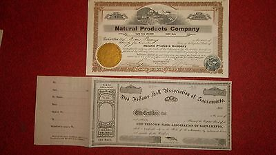 2  CALIFORNIA STOCK CERTIFICATES LOT  -  Sacramento Odd Fellows 1860s  -  Mining