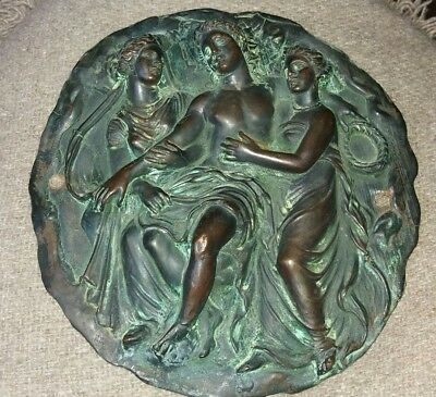 Beautiful Copper Plaque - Two Graces And Adonis - Lovely Quality