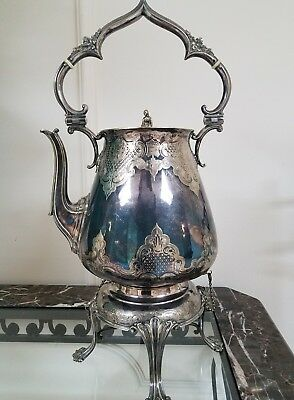 "Elkington c 1853 Silver Plate Gothic Revival 19"" coffee hot water kettle pot"