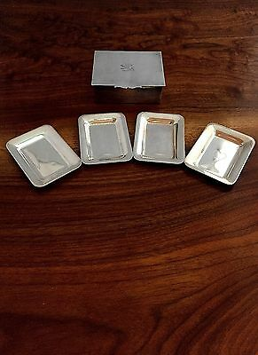 Prill Silver Co Card Shark Silverplate Cigarette Box & Four Ashtrays 1940
