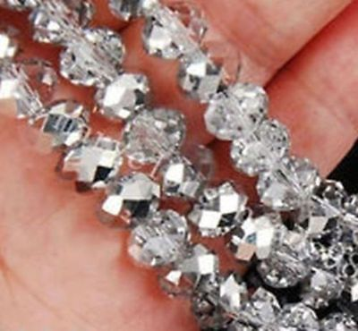 DIY Jewelry Faceted 70pcs 6*8mm Silver white Rondelle glass Crystal Beads