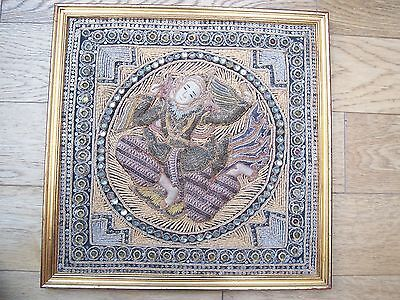 Rare Unusual 3D Asian or Far Eastern Tapestry, Glass Beads, Gold, Silver Thread.