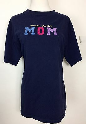 Worlds Greatest Mom T Shirt Mothers Day Navy Blue Short Sleeve Size Large Women