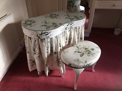 Vintage Retro Kidney shaped Dressing Table and Stool White Green Grey Floral