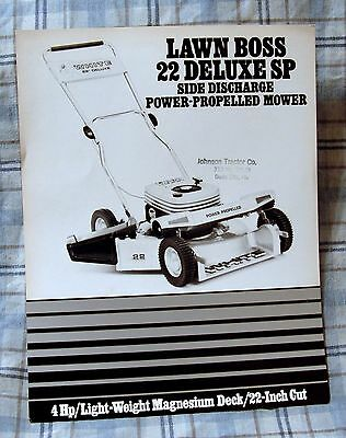 Vintage White Outdoor Products Lawn Boss 22 Mower Advertising Brochure-Ca 1970s!