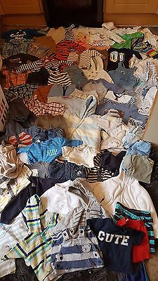 Big 75 Piece Baby Boys Bundle 0-6 Month Some Odd 6-9, Mix Of Seasons