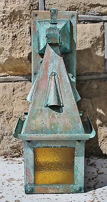 Weathered Copper Antique 1920's English Tudor Outdoor Light Lamp Lantern Sconce