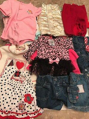 Large Lot Of 37 Pieces Baby Girl Clothes Items Newborn-6 Months