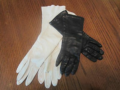 Vintage leather gloves 2 pairs black and white one size 6 1/2 from Italy