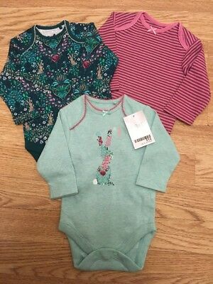 Next Baby Girls Teal Bunny Long sleeved Bodysuits Up To 3 Months Bnwt
